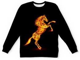 """Детский свитшот унисекс """"Огненная лошадь"""" - лошадь, огонь"""