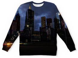 "Детский свитшот унисекс ""Город"" - город, здания, огни, вечер, мегаполис"