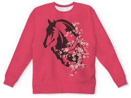 """Детский свитшот унисекс """"Лошадь"""" - цветы, лошадь"""