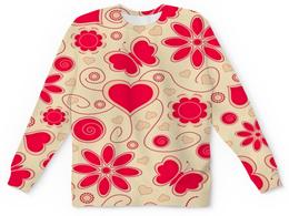 """Детский свитшот унисекс """"Бабочки и цветы"""" - сердце, бабочки, цветы, узор, весна"""