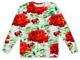 """Детский свитшот унисекс """"Пионы"""" - цветы, рисунок, природа, цветочки, пионы"""