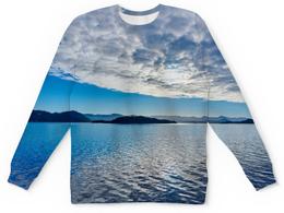 """Детский свитшот унисекс """"Остров в море"""" - море, облака, природа, пейзаж, остров"""