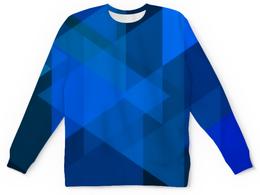 """Детский свитшот унисекс """"Синий абстрактный"""" - графика, синий, краски, абстракция, треугольники"""
