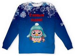 """Детский свитшот унисекс """"Новый год"""" - новый год, снег, сова, снежинки, дед мороз"""