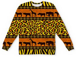 "Детский свитшот унисекс ""Африка"" - узор, животные, слон, леопард, жираф"