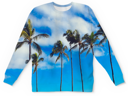 """Детский свитшот унисекс """"Пальмы"""" - лето, деревья, пляж, пальмы, майами"""