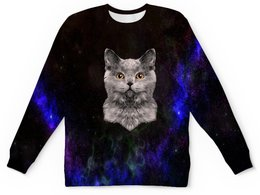 """Детский свитшот унисекс """"Котенок"""" - кот, звезды, котенок, космос, коты в космосе"""