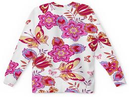 """Детский свитшот унисекс """"Весна"""" - бабочки, цветы, узор, листья, весна"""