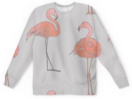 """Детский свитшот унисекс """"Фламинго"""" - серый, белый, птицы, розовый, акварель"""