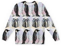 """Детский свитшот унисекс """"пингвины"""" - новый год, зима, птицы, подарки, пингвин"""