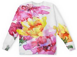 """Детский свитшот унисекс """"Хризантемы"""" - цветы, акварелью, природа, картина, розовый"""