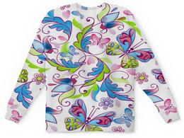 """Детский свитшот унисекс """"Цветы и бабочки"""" - бабочки, цветы, узор, листья, весна"""