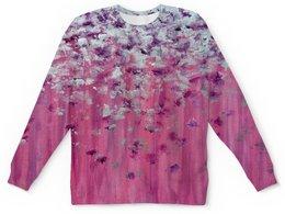 """Детский свитшот унисекс """"Розовое настроение ( kid's version )"""" - любовь, фиолетовый, розовый, перья, серебро"""