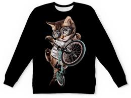 """Детский свитшот унисекс """"Кот BMX"""" - приколы, спорт, коты, bmx, велосипед"""