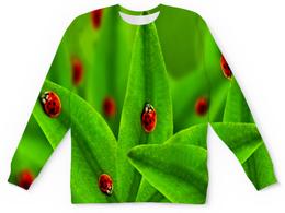 """Детский свитшот унисекс """"Божьи коровки"""" - божья коровка, листья, природа, насекомые"""