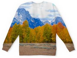 """Детский свитшот унисекс """"Деревья в горах"""" - осень, лес, природа, горы, пейзаж"""