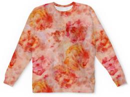 """Детский свитшот унисекс """"Чайные розы"""" - цветы, розы, розовый, романтик, акварель"""