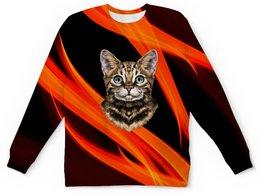 """Детский свитшот унисекс """"Без названия"""" - кот, животные, котенок, огонь, пламя"""