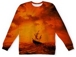 """Детский свитшот унисекс """"Шторм"""" - оранжевый, море, волны, корабль, шторм"""