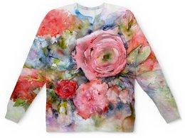 """Детский свитшот унисекс """"Акварельный букет"""" - цветы, роза, оригинальный, нежность, картина акварелью"""