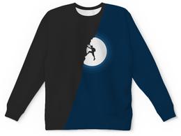 "Детский свитшот унисекс ""Скалолаз"" - скалолаз, минимализм, луна, ночь"