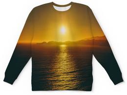 """Детский свитшот унисекс """"Закат над морем"""" - пейзаж, природа, море, горы, закат"""