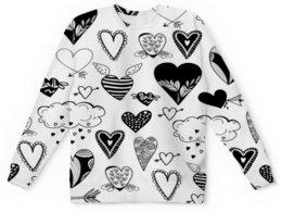 """Детский свитшот унисекс """"Сердечки"""" - сердце, любовь, сердечки, черно-белые, день влюбленных"""