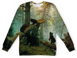 """Детский свитшот унисекс """"Утро в сосновом бору"""" - мишка, лес, природа"""