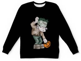 "Детский свитшот унисекс ""Чудовище Франкенштейна"" - хэллоуин, зомби, монстр, тыква, франкенштейн"