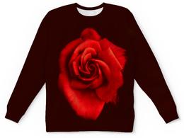 """Детский свитшот унисекс """"Красная роза"""" - цветы, цветок, красный, роза, розы"""
