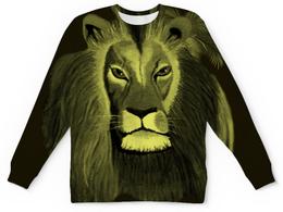 """Детский свитшот унисекс """"Ночью в саванне"""" - африка, ночь, свитер с авторским рисунком, мужской свитер, свитер со львом"""