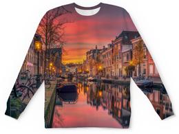 """Детский свитшот унисекс """"Венеция"""" - венеция, улица, город, пейзаж, лодка"""