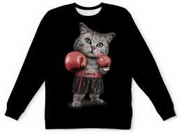 """Детский свитшот унисекс """"Кот Боксёр"""" - приколы, спорт, бокс, коты"""