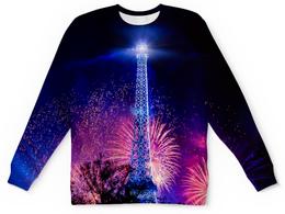 "Детский свитшот унисекс ""Эйфелева башня"" - праздник, здания, огни, эйфелева башня, салют"