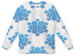 """Детский свитшот унисекс """"Голубые снежинки"""" - новый год, узор, голубой, снег, снежинки"""
