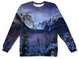 """Детский свитшот унисекс """"Синие горы"""" - лес, природа, горы, пейзаж, скалы"""