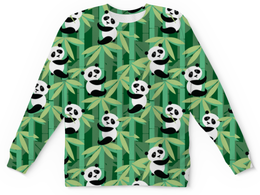 "Детский свитшот унисекс ""Жизнь панд"" - узор, животные, панда, лес, бамбук"