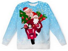 """Детский свитшот унисекс """"С Новым Годом! (Хрюша)"""" - новый год, дед мороз, санта клаус, хрюша, на скутере"""