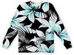 """Детский свитшот унисекс """"Голубые цветы"""" - цветы, узор, листья, природа, тропики"""