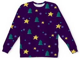 """Детский свитшот унисекс """"Звезды и елки"""" - новый год, звезды, праздничный, елочка"""