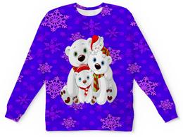 "Детский свитшот унисекс ""Белые медведи"" - белый медведь, полярные медведи, медведь, животные, снежинки"