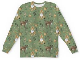 """Детский свитшот унисекс """"Жители волшебного леса"""" - животные, зеленый, тигр, лось, олененок"""