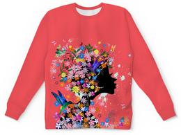 "Детский свитшот унисекс ""Девушка"" - бабочки, девушка, цветы, птицы"