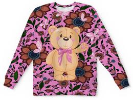 "Детский свитшот унисекс ""Мишка и бабочки"" - бабочки, цветы, медведь, мишка"