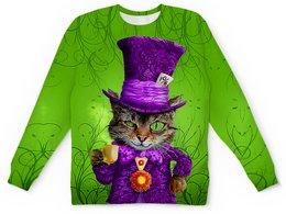 "Детский свитшот унисекс ""Чеширский котик"" - коты, сказка, фэнтези, чеширский кот, в шляпе"