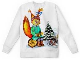 """Детский свитшот унисекс """"Белка"""" - зима, прогулка, девочка, ёлка, белка"""