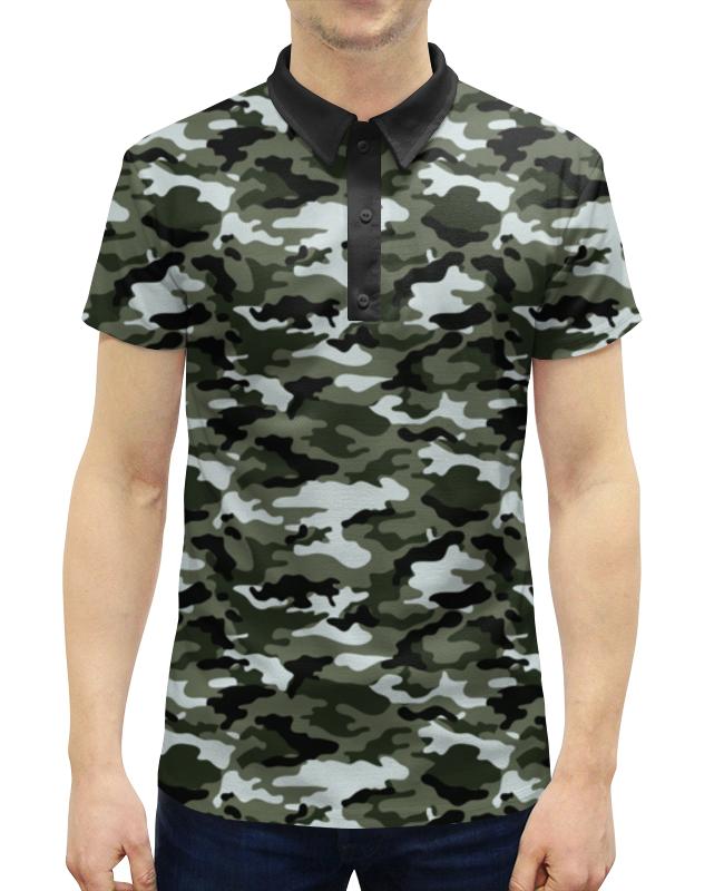Рубашка Поло с полной запечаткой Printio Камуфляж warning