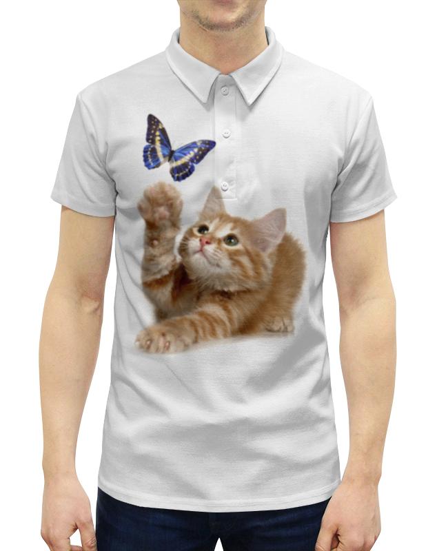 Рубашка Поло с полной запечаткой Printio Котенок и бабочка
