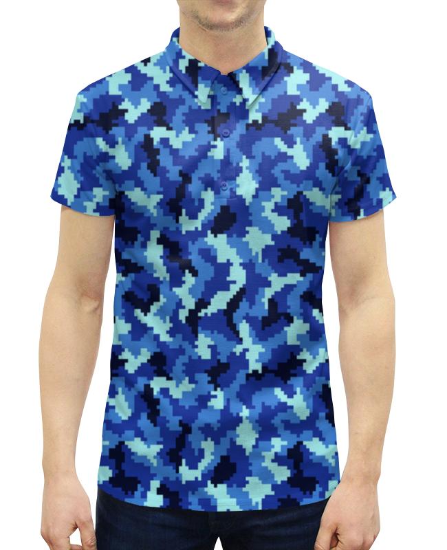 Рубашка Поло с полной запечаткой Printio Голубой камуфляж рубашка laura kent klingel цвет голубой