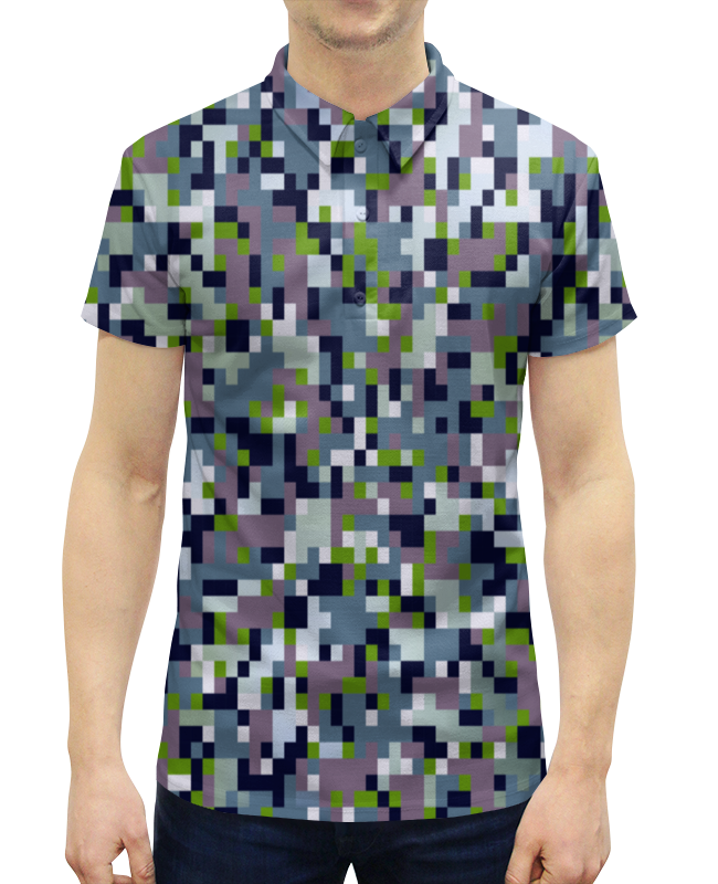 Рубашка Поло с полной запечаткой Printio Серый камуфляж худи print bar черно серый камуфляж